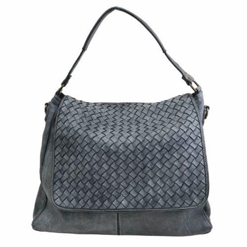 VIRGINIA Flap Bag With Wide Weave Dark Grey