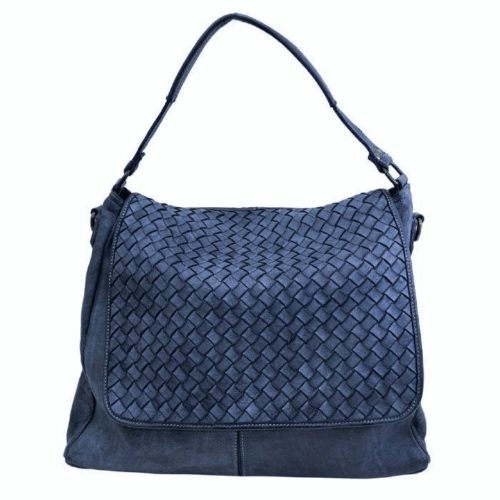VIRGINIA Flap Bag With Wide Weave Navy
