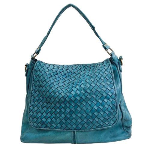 VIRGINIA Flap Bag With Wide Weave Teal