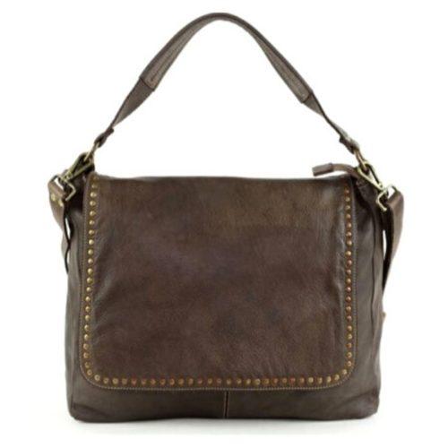 VIRGINIA Flap Bag With Top Handle Dark Brown