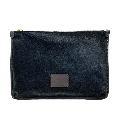 THEA Pony Hair Clutch Bag Black