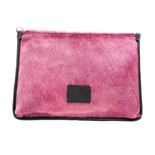THEA Pony Hair Clutch Bag Blush