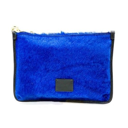 THEA Pony Hair Clutch Bag Blue