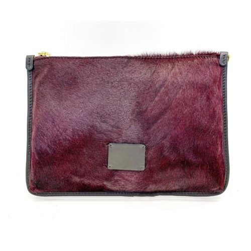 THEA Pony Hair Clutch Bag Bordeaux