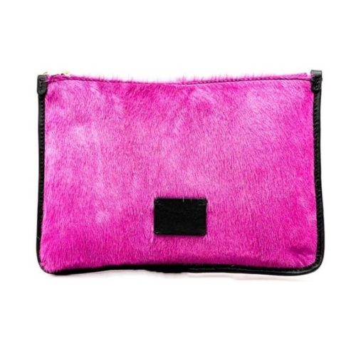 THEA Pony Hair Clutch Bag Fuchsia