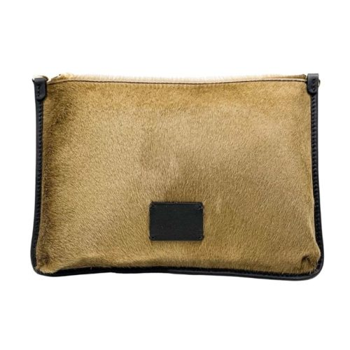 THEA Pony Hair Clutch Bag Light Taupe