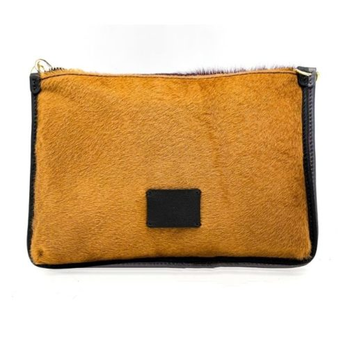THEA Pony Hair Clutch Bag Mustard