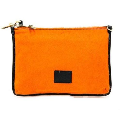 THEA Pony Hair Clutch Bag Orange