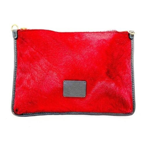 THEA Pony Hair Clutch Bag Red