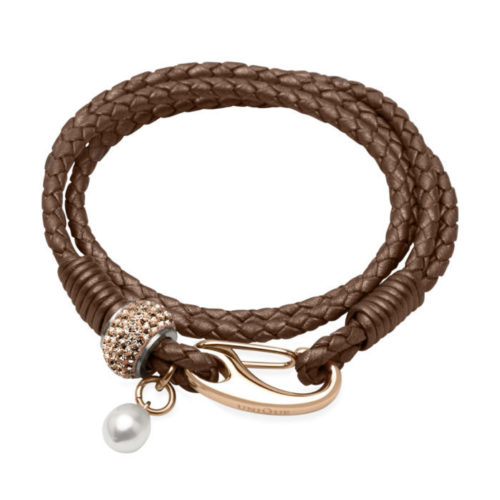 Unique & Co Women's Leather Bracelet With Crystals & Freshwater Copper