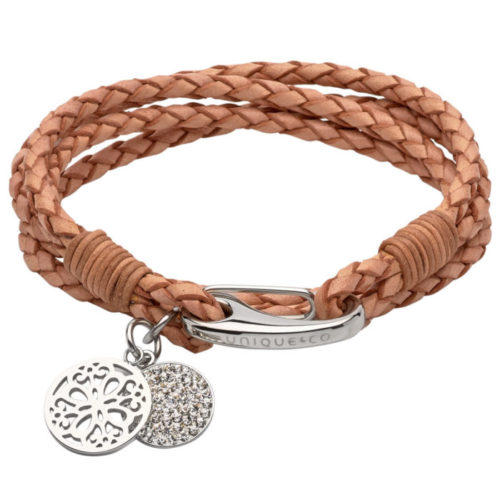 Unique & Co Women's Leather Bracelet With Round Charms Natural