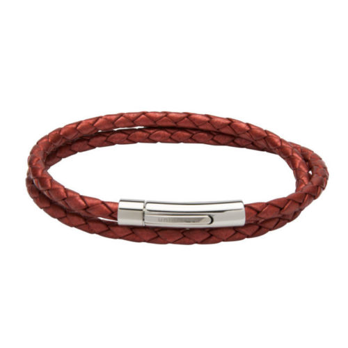 Unique & Co Women's Leather Bracelet With Steel Clasp Red