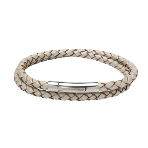 Unique & Co Women's Leather Bracelet With Steel Clasp Pearl