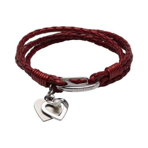 Unique & Co Women's Leather Bracelet With Hearts And Pearl Red