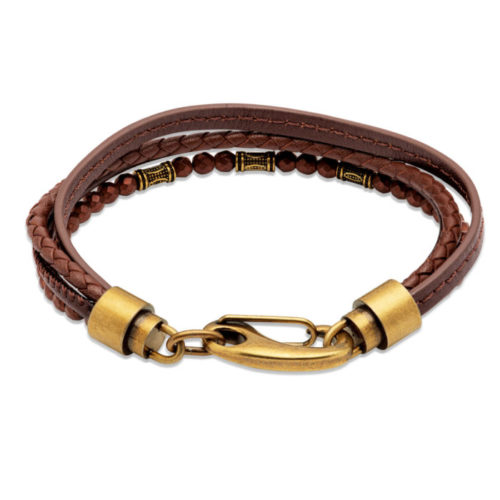 Unique & Co Men's Leather Bracelet With Yellow Gold Shrimp Clasp – Dark Brown