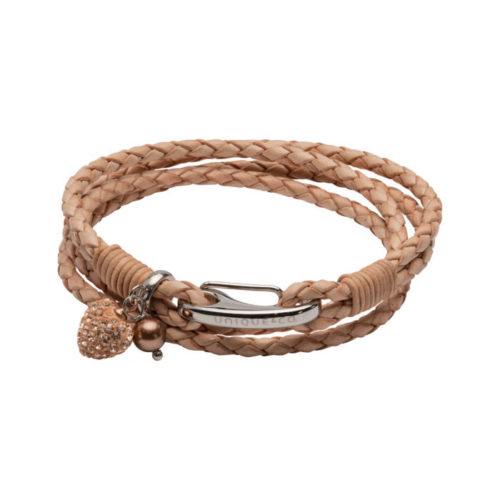 Unique & Co Women's Leather Bracelet With Rose Crystal Heart Charm Natural