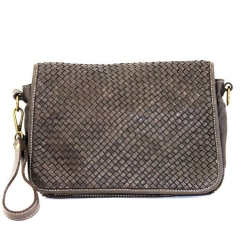 SILVIA Messenger Bag Woven Dark Brown