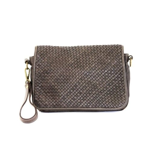 SILVINA Narrow Weave Small Cross-body Bag Dark Brown