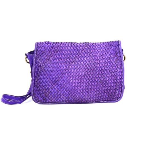 SILVINA Narrow Weave Small Cross-body Bag Purple