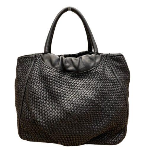 FARFALLA Woven Hand Bag Black