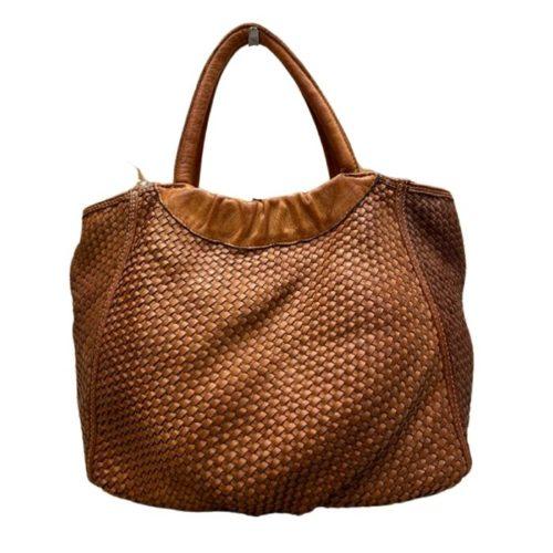 FARFALLA Woven Hand Bag Tan
