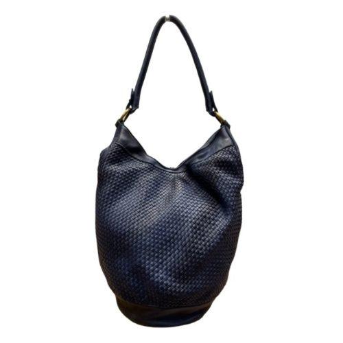 GEMMA Woven Bucket Bag Navy