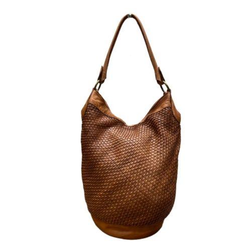 GEMMA Woven Bucket Bag Tan