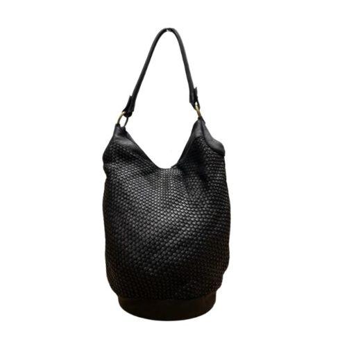 GEMMA Woven Bucket Bag Black