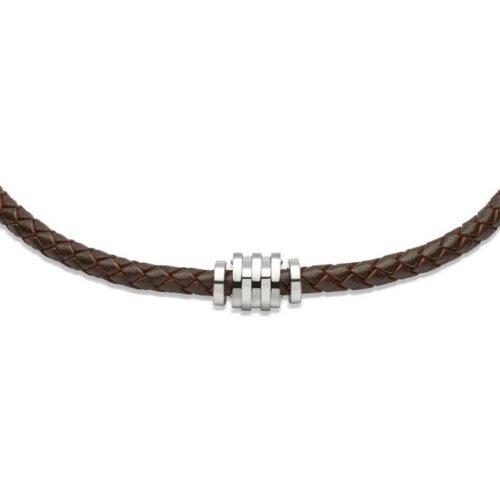 Unique & Co Men's Leather Necklace & Steel Elements – Dark Brown