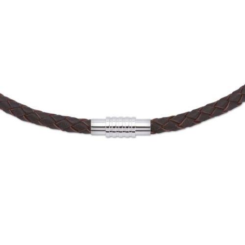 Unique & Co Men's Leather Necklace Magnetic SteeL Closure – Dark Brown