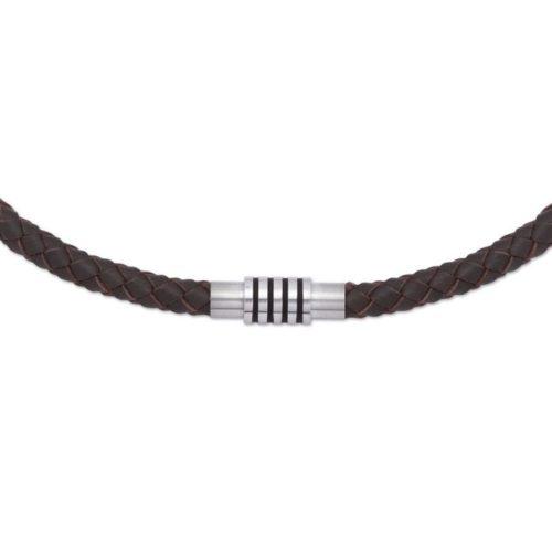 Unique & Co Men's Leather Necklace Magnetic Steel & Enamel Closure – Dark Brown