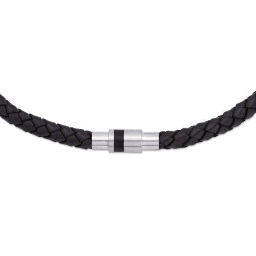 Unique & Co Men's Leather Necklace Magnetic Steel Closure – Black
