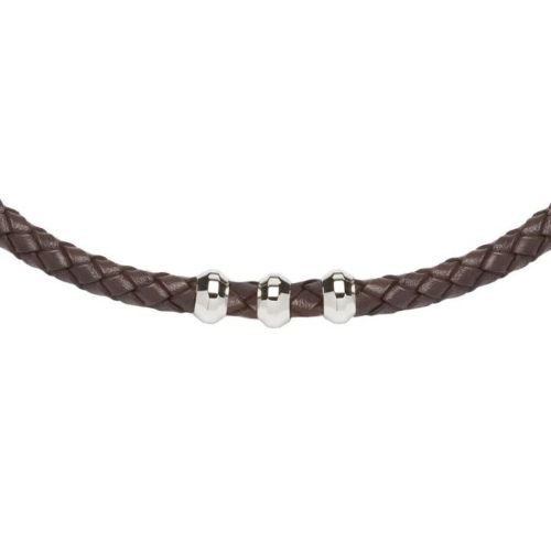 Unique & Co Men's Leather Necklace Rounded Steel Elements – Dark Brown