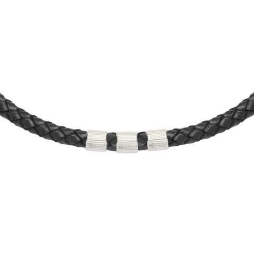 Unique & Co Men's Leather Necklace With 3 Steel Elements – Black