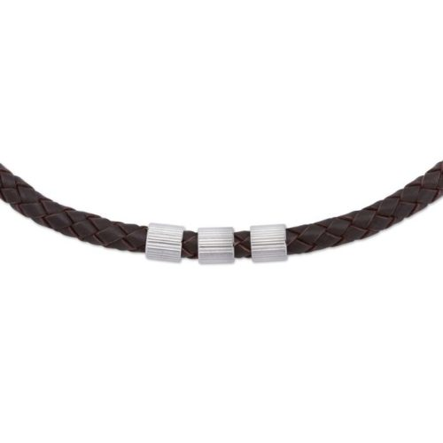 Unique & Co Men's Leather Necklace With 3 Steel Elements – Dark Brown