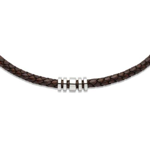 Unique & Co Men's Leather Necklace & Steel Elements – Antique Brown