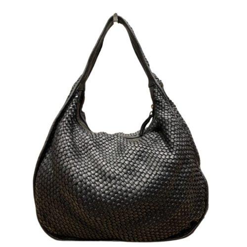 TIFFY Large Woven Shoulder Bag Black