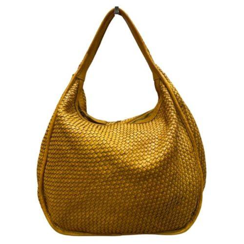 TIFFY Large Woven Shoulder Bag Mustard