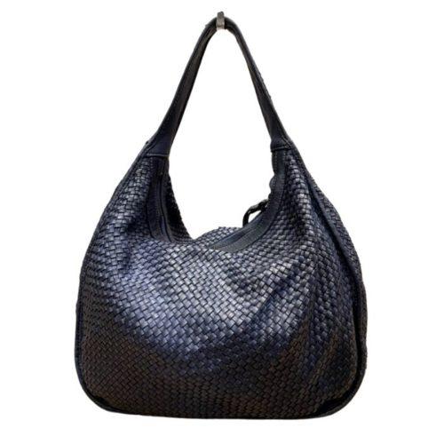 TIFFY Large Woven Shoulder Bag Navy