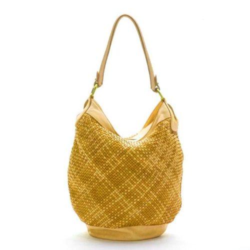 GEMMA Woven Bucket Bag Mustard