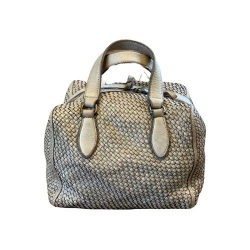 MIRTILLA Woven Bowler Bag Beige