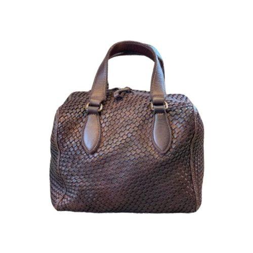 MIRTILLA Woven Bowler Bag Dark Brown