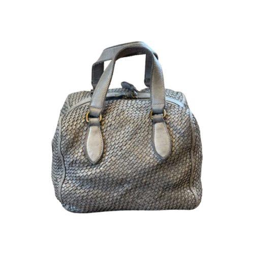 MIRTILLA Woven Bowler Bag Light Grey