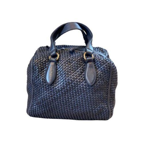 MIRTILLA Woven Bowler Bag Navy