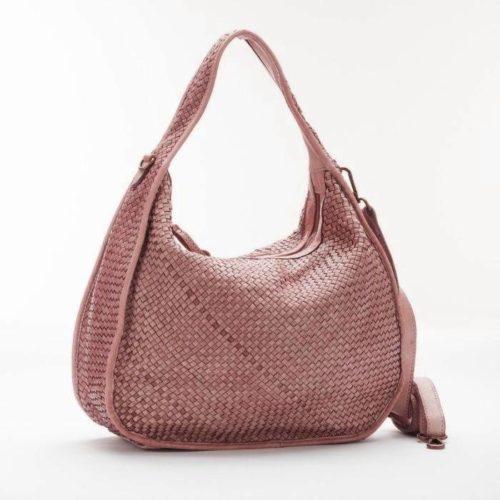 TIFFY Large Woven Shoulder Bag Blush