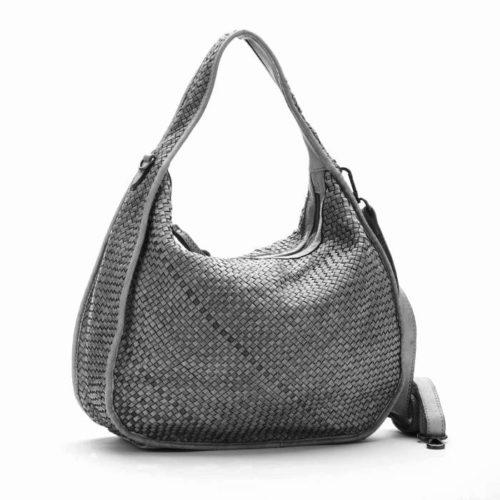 TIFFY Large Woven Shoulder Bag Light Grey