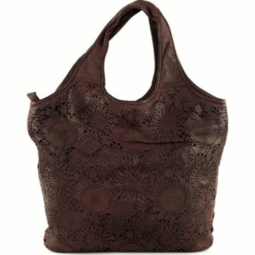 FIORELLA Shoulder Bag With Laser Cut Detail Dark Brown
