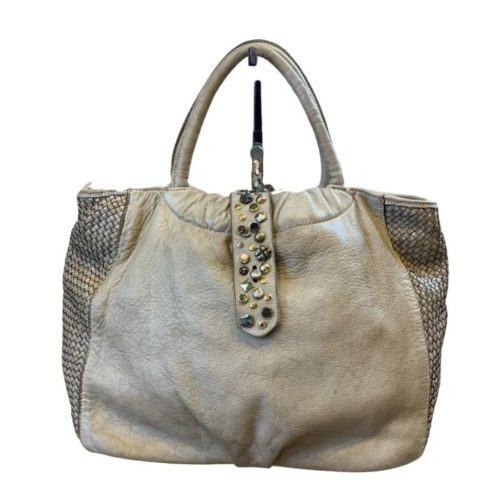 FARFALLA Rock Woven Hand Bag Beige