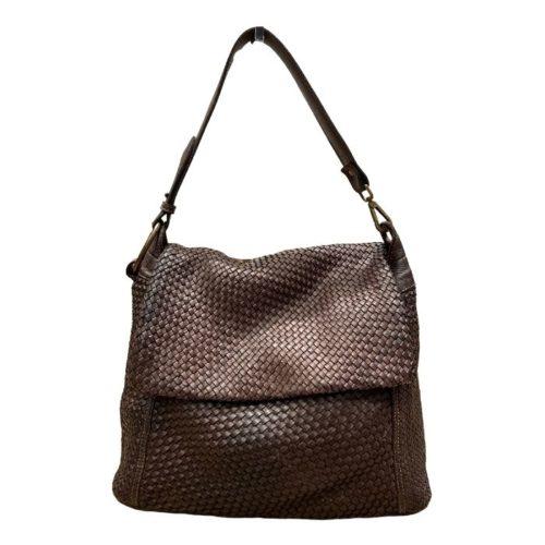 Priscilla Shoulder Bag Narrow Weave All Over Dark Brown