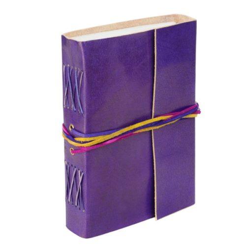 Fair Trade 3-String Leather Journal Purple